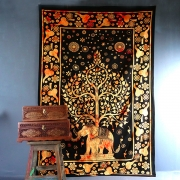 Indian cotton wall hanging Tree of life & Elephant