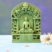 Indian Buddha green resin temple