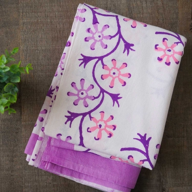 Indian handicraft printed table cover white and purple