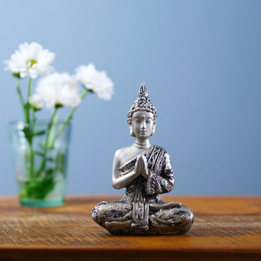 Silver resin Indian Buddha statue