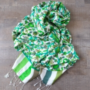 Indian scarf printed cotton green color