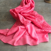 Indian stole printed cotton OM and Ganesh pink