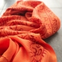 Indian stole printed cotton OM and Shiva orange