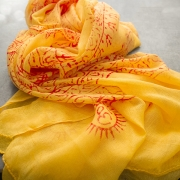 Indian stole printed cotton OM and Buddha yellow