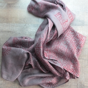 Indian stole printed cotton OM and Krishna grey