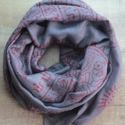 Indian stole printed cotton OM and Nataraj grey