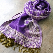 Indian cotton embroidered scarf purple and beige