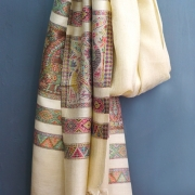 Indian Peacock cotton scarf beige and brown