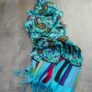 Indian scarf printed cotton blue color