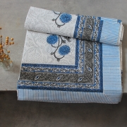 Indian printed cotton table cover blue and grey