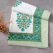 Indian handicraft printed table cover green