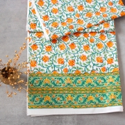 Indian handicraft printed table cover yellow and green