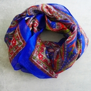 Indian silk scarf square navy blue