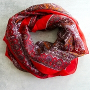 Indian silk scarf square red color