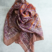 Indian silk scarf square brown and orange