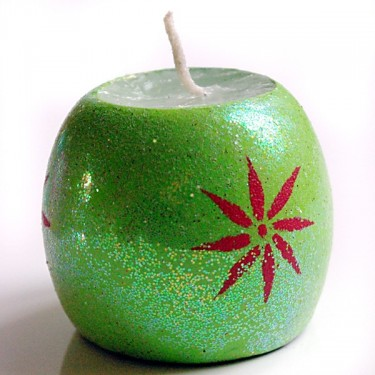 Indian candle holder green