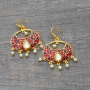 Indian earrings flower red and golden colors