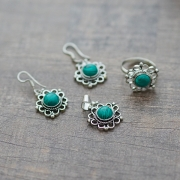 Indian jewelry set ethnic green and silver