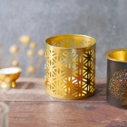 Indian metal candle holder Flower of life