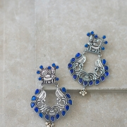 Indian earrings handcrafted therianthrope blue