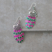 Indian earrings handcrafted peacocks pink and green
