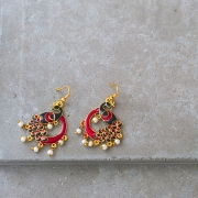 Indian earrings Peacock red and black colors