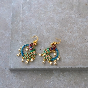 Indian earrings Peacock blue and red colors