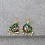 Indian earrings Peacock black and green colors