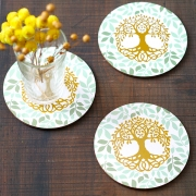 Coasters MDF round Tree of life color x6