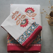 Indian printed bedsheet + pillow Maroon and white