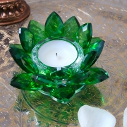 Indian lotus green crystal candle stand