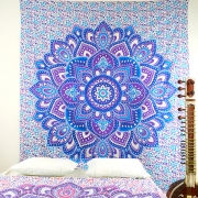 Indian cotton wall hanging Lotus blue and purple