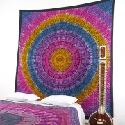 Indian cotton wall hanging Elephants multi pink