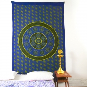 Indian handcrafted cotton wall hanging blue flower