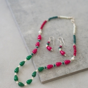 Indian jewelry set ethnic design red and green
