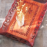 Indian handcrafted wooden tray for service