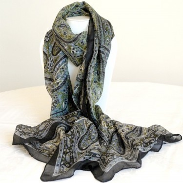 Indian silk scarf black and green