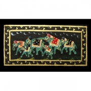 Indian miniature painting Elephants black L