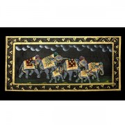Indian miniature painting Elephants black R
