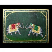 Indian miniature painting Elephant green and red