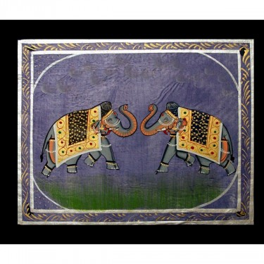 Indian miniature painting Elephant purple and blue