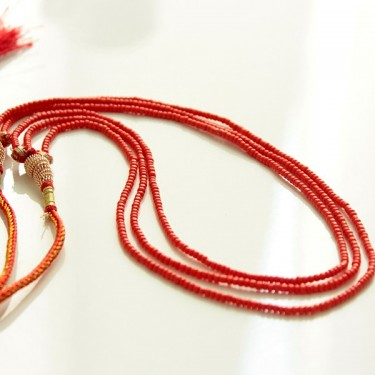 Adjustable Indian necklace orange pearls
