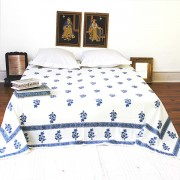 Indian printed bed sheet Raja blue