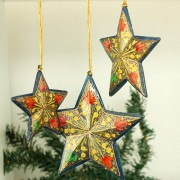 3 Christmas stars navy blue ornament