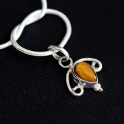 Silver and tiger stone Indian pendant
