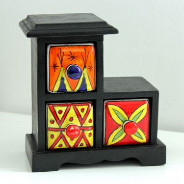 Indian box with 3 drawers ceramic