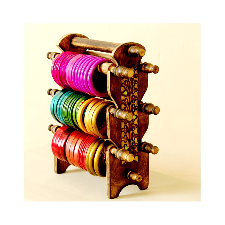 Stand for bangles, wooden handycraft by Pankaj Indian store