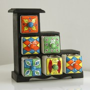 Indian box with 6 drawers ceramic arlequin