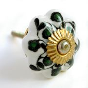 Door or drawer Indian knob black and green
