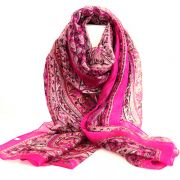 Indian silk scarf pink square